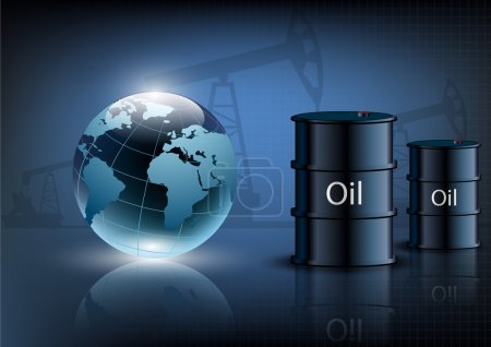 Illustration pour Pompe à huile plate-forme pétrolière machine industrielle et des barils de pétrole sur un fond bleu - image libre de droit