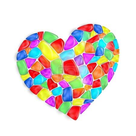 Herz besteht aus bunten Steinen