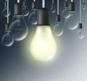 incandescent lamp on a dark blue background