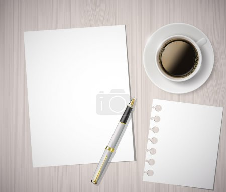 Photo for Sheet of paper and a cup of coffee on a wooden table - Royalty Free Image