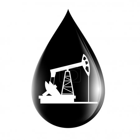 Pumpjack silhouette on a drop of oil