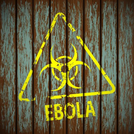 biohazard symbol on a wooden wall