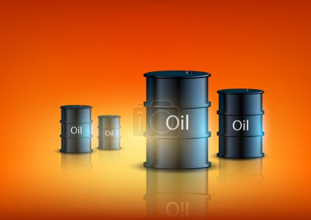 Barrels of fuel on an orange background