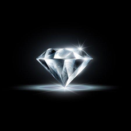 Illustration pour Diamant isolé sur fond noir - image libre de droit