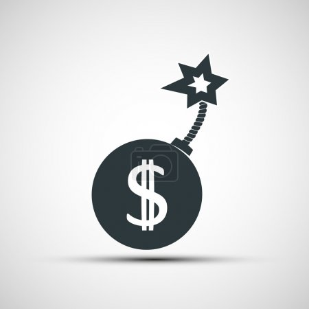 Illustration for Vector icon round bomb with a picture of a dollar sign - Royalty Free Image