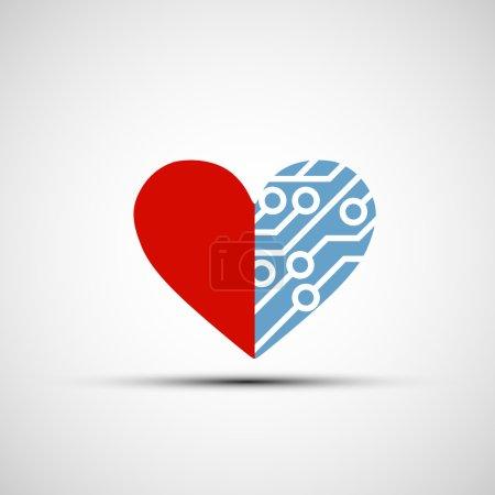 Vektor-Symbol des menschlichen Herzens und Schaltkreise