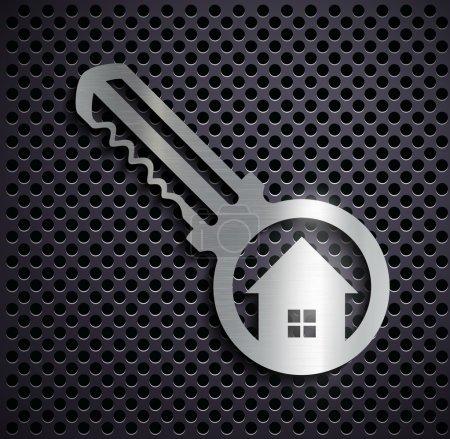Flat metallic logo key.