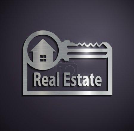 Flat metallic logo real estate.