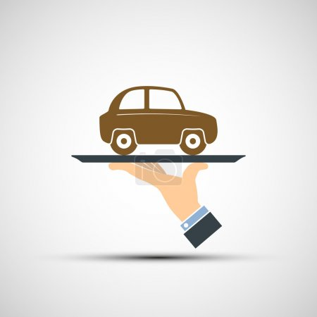 Illustration pour Main tenant un plateau avec une voiture. Image vectorielle . - image libre de droit