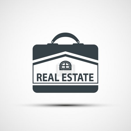 Illustration for Suitcase with the image of the house. Vector image. - Royalty Free Image