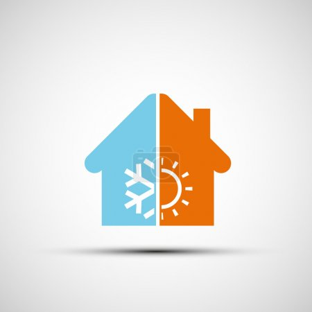 Illustration for Logo home with climate control. Vector image. - Royalty Free Image