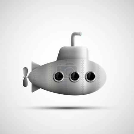 Gray metal submarine with portholes.