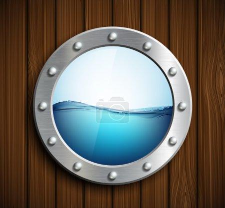 Round porthole on wooden surface.