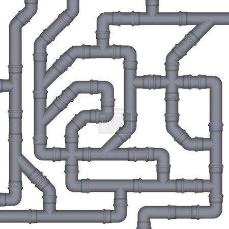 Illustration pour Raccordement de tuyaux d'égout en plastique. Image vectorielle . - image libre de droit