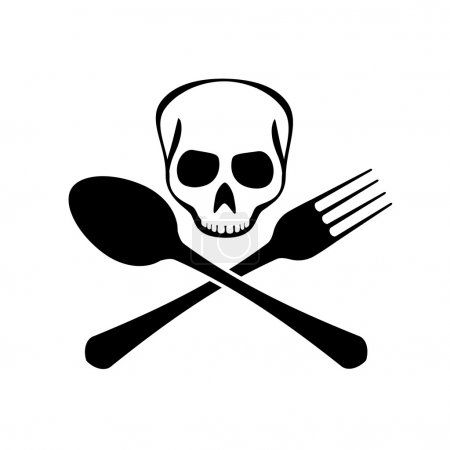 Sign of spoons, forks and skull.