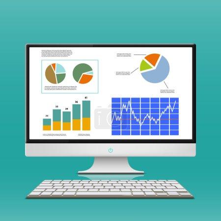 Financial charts and graphs on computer monitor