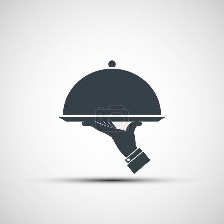 Illustration pour Restaurant cloche en main du serveur. Conception de logo. Image vectorielle de stock . - image libre de droit
