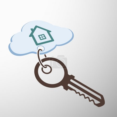 Key with keychain. house on a cloud