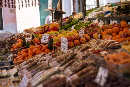 Sale of fresh fruits and vegetables at the market Rialto in Venice