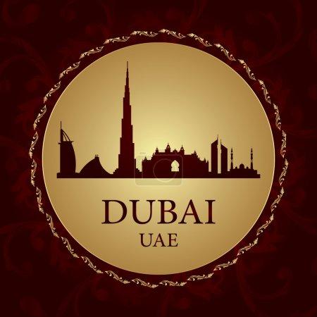 Dubai skyline silhouette on vintage