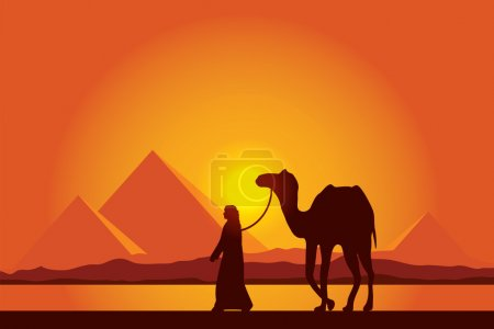 Egypt Great Pyramids with Camel caravan on sunset ...