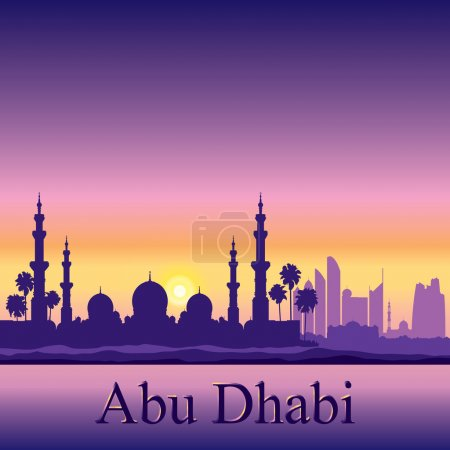 Abu Dhabi skyline silhouette background with a Grand Mosque
