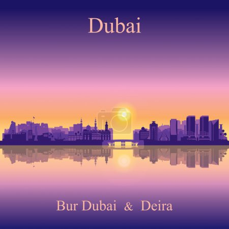 Dubai Deira and Bur Dubai skyline silhouette background