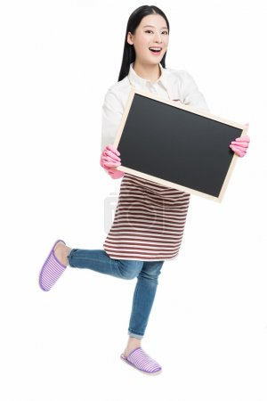cleaning woman showing blank sign board