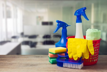 Photo for Office cleaning service concept with supplies - Royalty Free Image