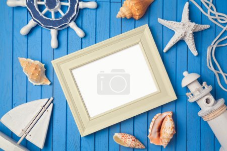 Photo for Summer holiday poster frame mock up template. View from above. Flat lay - Royalty Free Image