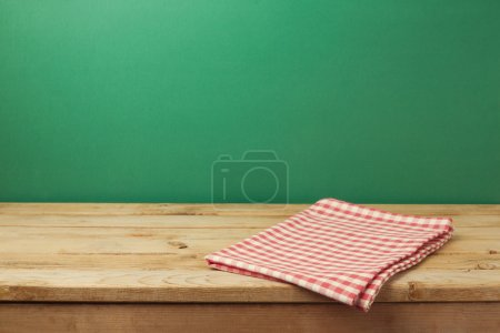Table with red checked tablecloth