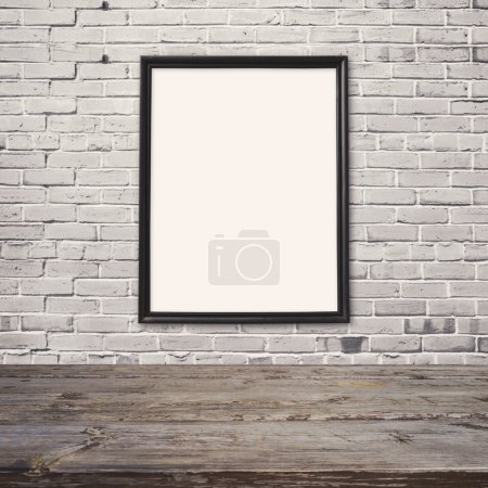 wooden table with poster mock up template