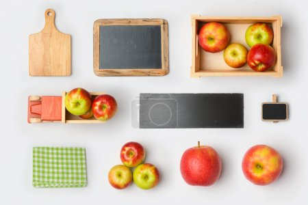 Photo for Apple products mock up branding template. View from above. Flat lay - Royalty Free Image