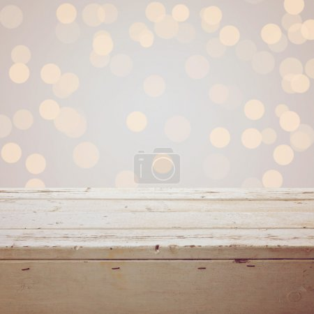 Photo for Christmas background with empty wooden table - Royalty Free Image