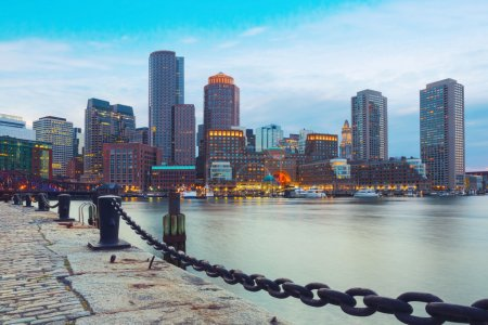 Photo for Boston Harbor and Financial District at sunset. Boston- Massachusetts, USA - Royalty Free Image