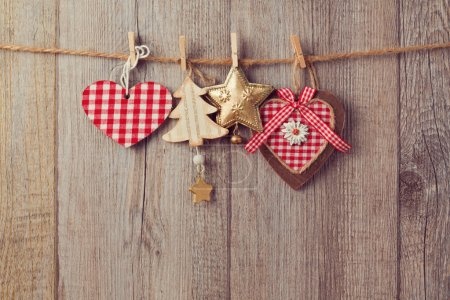 Christmas ornaments hanging on string