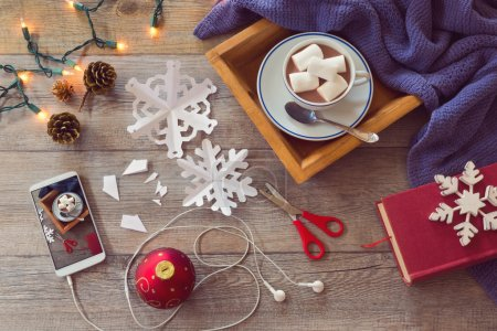 Coffee, smartphone, scissor and decorations