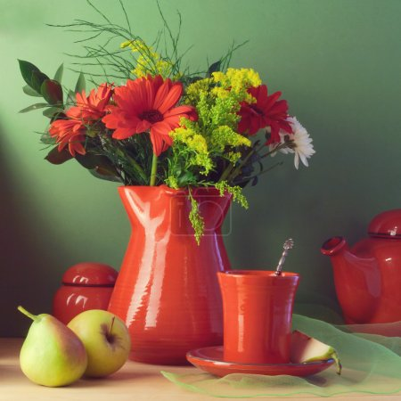 Vintage still life with red tableware