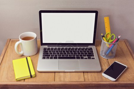 Photo for Office desk mock up with laptop and office items - Royalty Free Image
