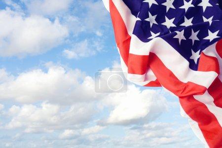American flag over sky