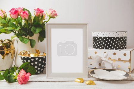 Photo for Picture frame poster template mock up with glamour and elegant feminine objects - Royalty Free Image