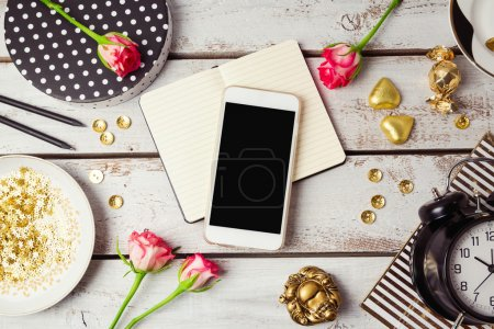 Smartphone mock up with feminine objects