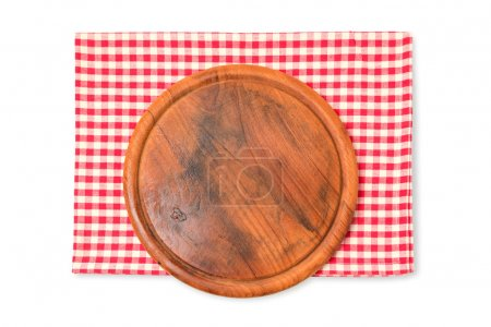 Wooden board with checked tablecloth