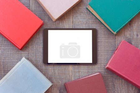 tablet mock up template with books