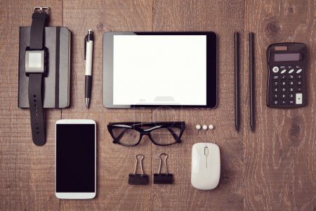 Photo for Modern office desk with gadgets. View from above - Royalty Free Image