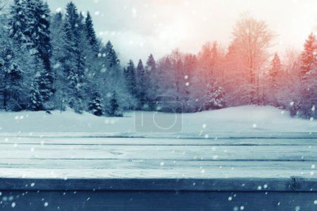 Christmas background with wooden empty table