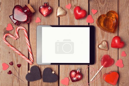 Photo for Digital tablet mock up template for Valentine's day holiday. View from above - Royalty Free Image
