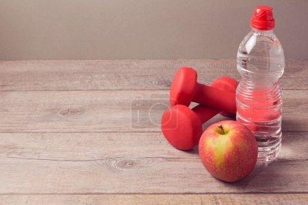 bottle of water and apple