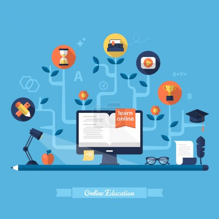 Photo for Flat vector illustration for e-learning and online education - Royalty Free Image