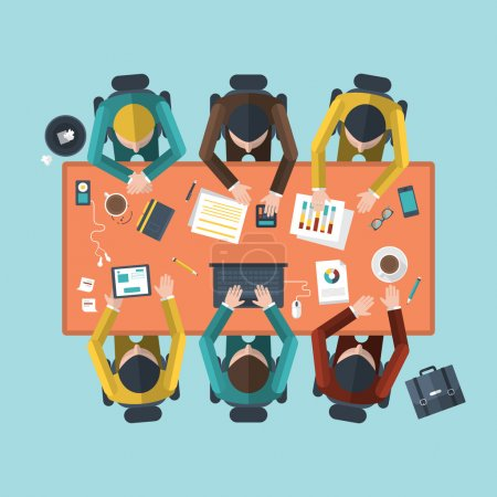 Illustration for Flat design modern vector illustration concept of teamwork analyzing project on business meeting - Royalty Free Image